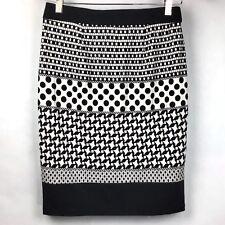 Cato Juniors Sz XS Skirt Stretch Black White Elastic Waist Pencil Straight B2-5
