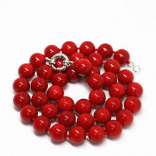"""Fashion 10mm Red South Sea Shell Pearl Round Beads Necklace 18"""" AAA+"""
