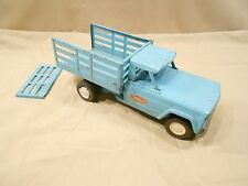 VINTAGE TONKA STAKE BED DUMP TRUCK, JEEP, 1960'S, PRESSED STEEL, LIGHT BLUE