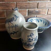 Wisconsin Pottery Jug Glaze Blue Rooster Jug, Handled Bowl, Pitcher Farmhouse