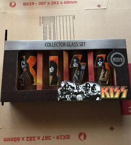 Kiss Collector Glass Set Gene Simmons Paul Stanley New 2010