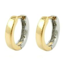Hoop Creole Earrings, Bicolor Partly Gold Plated And 925 Silver, Earrings Ladies