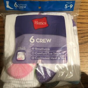 Hanes 431/6 Ladies Crew Comfortblend EZ Sort Socks - Size M, White, Pack of 6
