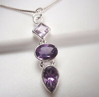 Faceted Amethyst Triple-Gem 925 Sterling Silver Pendant Corona Sun Jewelry
