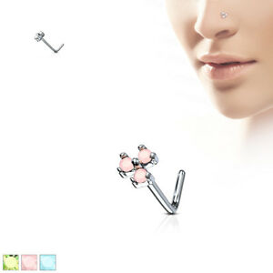 1pc Opalite 3 Stone Triangle L-Bend 20g Nose Ring Stud Screw 316L Surgical Steel
