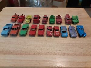 TOOTSIE TOY LOT OF 19 VINTAGE CHICAGO TOW TRUCK, EARTH MOVER, JEEP, TANKER, DUMP