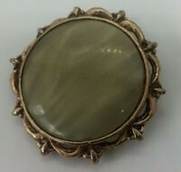 ANTIQUE BROOCH/PENDANT GOLD COLOURED NATURAL STONE