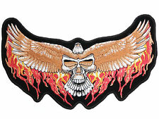 "Flaming Eagle Wings Reaper Skull Biker Big XL Embroidered Back Jacket Patch 9.9"""