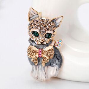 New Enamel Crystal Green Eye Cartoon Cat Brooch Pin Jewelry Bag Ornament Gift-xd