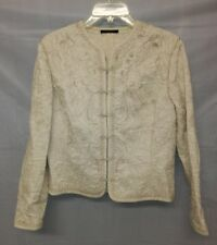 Elie Tahari Womens Beige Khaki Embroidered Jacket Blazer Cotton Hook Front
