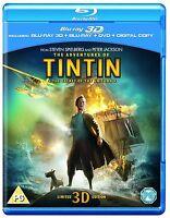 Blu Ray TIN TIN The Secret of the Unicorn tru 3D & 2D & DVD. New sealed.