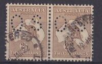 NO34) Australia 2/- Brown 2nd wmk, horizontal pair perf OS-ACSC-36ba-SG-O36-fine