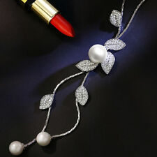 Fashion Long Pendant Pearl Crystal Leaf Necklace White Gold Plated Wedding Party