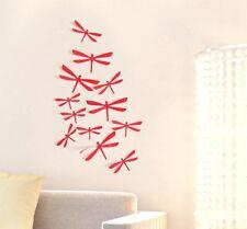 12 LIBELLULES 3D ROUGE autocollants PVC Déco Mur/SDB/Porte/Chambre