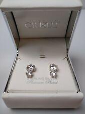 Crislu Platinum Plate Sterling Silver Earrings Very Nice!