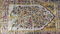 Silk Rug from Kashmir Tree of Life Birds Gold White Design 4' x 6'