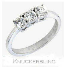 Genuine Diamond Ring 0.55ct Brilliant Cut F VS 18ct White Gold Three Stone