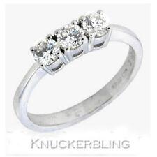 Genuine Diamond Ring 0.55ct Brilliant Cut F VS 18ct White Gold Three Stone