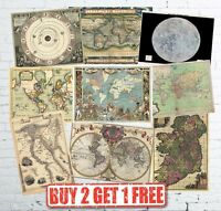 Vintage High Quality Historic Antique Rare World Maps Europe Posters A1/A2/A3
