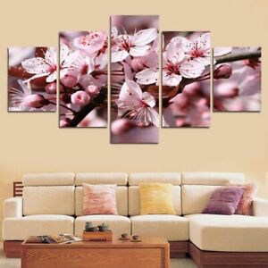 Pink Cherry Blossom Flower 5 Pcs Canvas Wall Art Painting Poster Home Decor