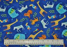 1/2 yard cotton quilt fabric Jungle Animals Safari giraffe elephant tiger bird