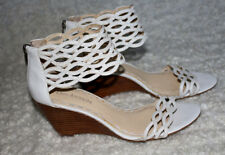 ENZO ANGIOLINI 🌸 WHITE  Leather WEDGE Shoes  SZ:7.5  Medium