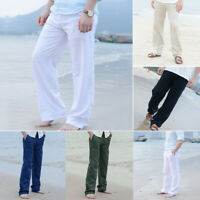 Men Cotton Linen Trousers Pants Beach Drawstring Yoga Elasticated Solid Casual