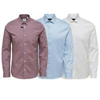 Only & Sons Mens Formal Shirts Classic Cotton Long Sleeved Plain Shirt S to XL