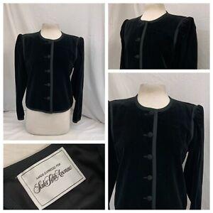 Saks Fifth Avenue Blazer Jacket Sz 12 Black Velvet 5 Button Mint YGI N1-77