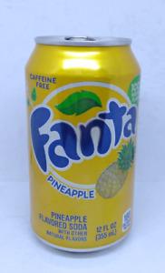 Empty Pineapple Fanta can; 355 ml / 12 fl oz; TOP opened (USA)
