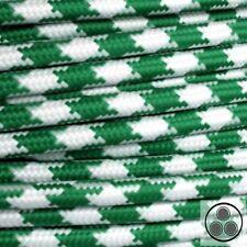 Textilkabel Stoffkabel Lampen-Kabel Stromkabel, Stern Grün Weis 3 adrig