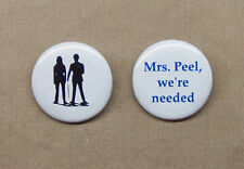 """The Avengers (1961) Logo & 'Mrs. Peel, We're Needed' Buttons 1.25"""" Diana Rigg"""