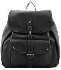 Black Women's Ladies Travel Faux Leather Rucksack Backpack School Shoulder Bag