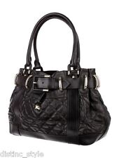 "SUBSTANTIAL CHIC PRACTICAL LARGE BURBERRY Quilted Black LEATHER ""BREATON"" BAG"