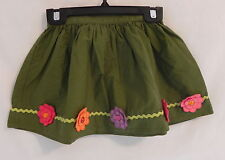 """Gymboree Girls Green Skirt """"Pretty Posies"""" w/ colorful flowers and gems 5T"""