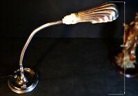 Rare 1920s GEC industrial L/E art deco chrome flex stem lamp clam shell shade