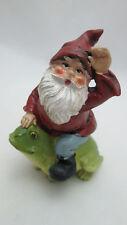 """Fairy Garden 2.15"""" by 3"""" Garden Gnome Riding a Frog Figurine"""