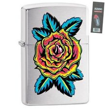 Zippo 29399 Blooming Rose Brushed Chrome Finish Full Size Lighter + FLINT PACK