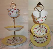 3 TIER TRINKET CAKE STAND DISPLAY YELLOW GREEN RED FLORAL ROSANNA POTTERY