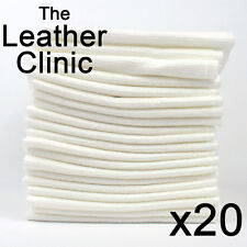 20 White Low Linting Cleaning Cloths. Ideal for leather cleaning and repairs.