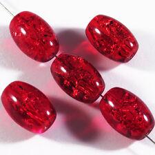 Lot de 20 perles craquelées Ovales en verre 10 x 14 mm Rouge