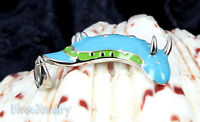 Sterling Silver Light Blue & Green Nudibranch Sea Slug Pendant Necklace Marine