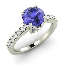 1.31 Carat Natural Tanzanite Engagement Ring in Solid White Gold with SI Diamond