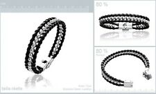 Dolly-Bijoux Bracelet  Semi-Rigide Cuir 10mm de Boules 4mm Acier Inoxydable 19cm