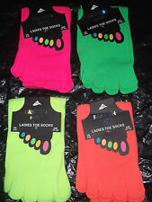 LADIES GIRLS NEON NOVELTY  FASHION TOE SOCKS 4-8 EUR 37-42