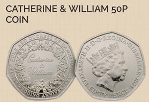Gibraltar 🇬🇮 Coin 50p Pence 2021 Anniversay 10y William Kate Wedding Cambridge