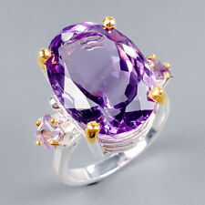 Handmade17ct+ Natural Amethyst 925 Sterling Silver Ring Size 8/R121593