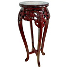 Vintage Chinese Chippendale Tall Plant stand Marble top Carved wood Red 1B