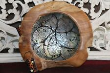 NEW Balinese Quality TEAK Wood & Shell Feature Bowl - Bali handcrafted bowl