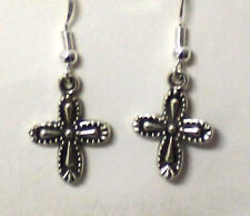 New Tibetan Silver Artesian Cross Dangle Earrings w/Sterling Silver Ear Wires